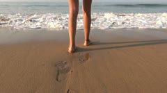Feet woman playing ocean 60 Stock Footage