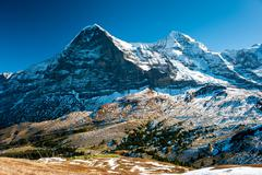 panorama of eiger and monch - stock photo