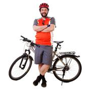 bearded mountain biker smiling (isolated) - stock photo
