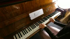 Young Woman Plays Piano -  Piano Player Stock Footage