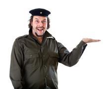 guerilla marketing guy holding an imaginary product - stock photo
