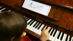Little Baby Girl Plays Piano Piano Player Stock Footage