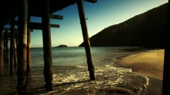 Looking under Pier Vintage style Stock Footage