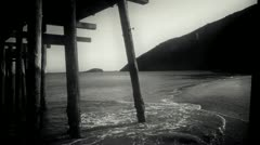 Looking under Pier in Vintage style Stock Footage