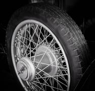 Classic car spoke tire details Stock Photos