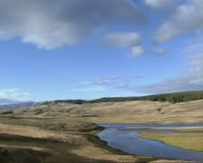 Dark cloud above Hayden Valley in Yellowstone National Park, autumn Stock Footage