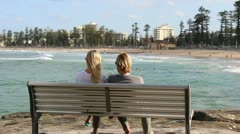 Australian couple admire Queenscliff beach (1) Stock Footage