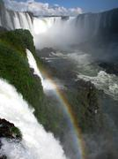 Amazing Iguazu waterfalls, seen from the Brazilian side. - stock photo