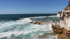 Bronte beach in Sydney, rock pool (2) Stock Footage