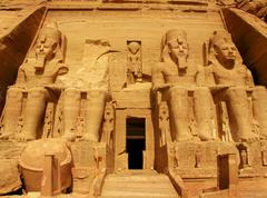 Abu Simbel Temple of King Ramses II, masterpiece of Old Egypt - stock photo
