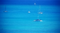 Boats Floating on Water in Hawaii Stock Footage