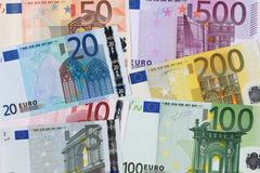 all seven euro banknotes - stock photo