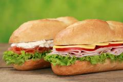 Sub sandwiches with ham and salmon Stock Photos