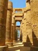 luxor: magnificent columns of the hypostyle hall at the temples of karnak - stock photo
