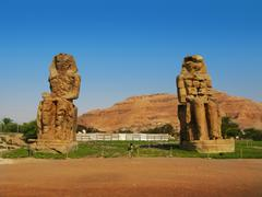 The great Colossi of Memnon, giant statues near Kings Valley Stock Photos