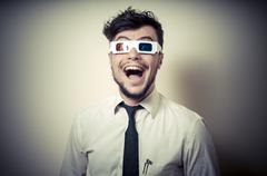 businessman with 3d eyewear - stock photo