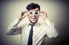 businessman with 3d eyewear - stock photo