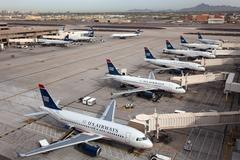 us airways aircraft at phoenix sky harbor airport - stock photo