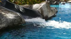 Water Slide into Pool Stock Footage
