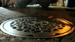Man Hole Cover at Night Stock Footage