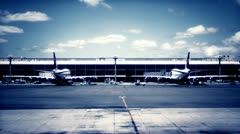 Airplanes Parked In Terminal Stock Footage