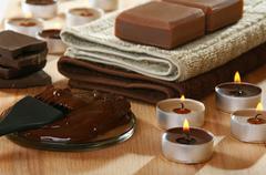Sensuality spa chocolate aromatherapy items. Stock Photos