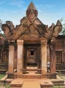 Beautiful Banteay Srei, in pink sandstone. Angkor Wat, Cambodia - stock photo