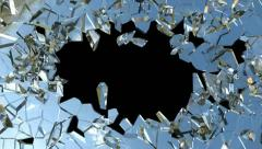 Bullet hole: Shattered glass with slow motion. Alpha is included Stock Footage