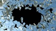 Stock Video Footage of Bullet hole: Shattered glass with slow motion. Alpha is included