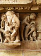 India: temples of khajuraho, one of the most popular tourist destinations in Stock Photos