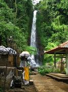 bali: impressive gitgit waterfalls, surrounded by beautiful wild nature. near - stock photo