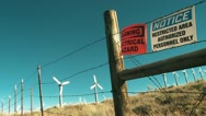 Fenced off Wind Turbine Farm Stock Footage
