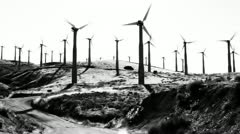 High Contrast Wind Turbines Stock Footage