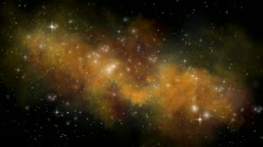 Golden Nebula with Moving Star field Stock Footage