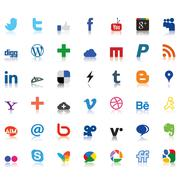 social network icons colored - stock illustration