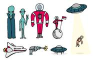 Space set / aliens and astronauts Stock Illustration