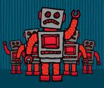 Angry robot mob Stock Illustration