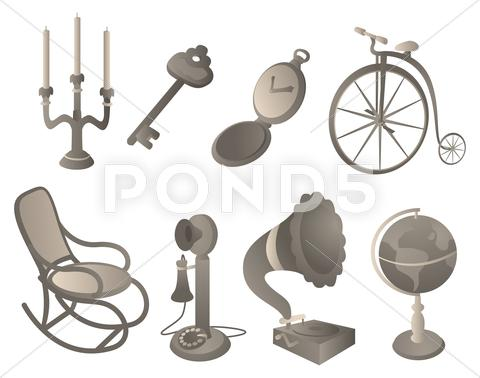 Stock Illustration of antique objects set