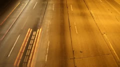 Light Streaks of Traffic At Night Stock Footage