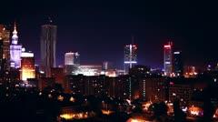 Warsaw Poland city at night. Stock Footage