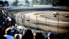 Tilt shift Crowd at Sprint Car Race Stock Footage