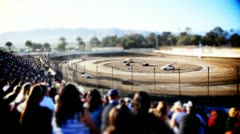Tilt shift Crowd at Sprint Car Race Stock Footage