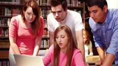 University students in the library - stock footage