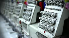 Row of Industrial Sewing Machines Stock Footage