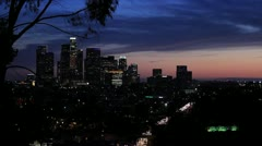 Down Town Los Angeles skyline freeway time lapse Stock Footage