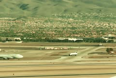 Wide Angle Midday Airport Runway Traffic - stock footage