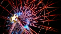 Ferris Wheel Spinning at Night Stock Footage