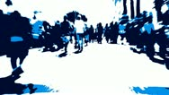 Stock Video Footage of Blue High Contrast Time Lapse Thru Crowd