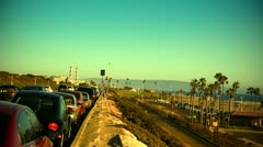 Cars Parked on Highway in California Stock Footage