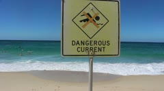Dangerous current sign in Sydney - stock footage